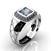 Mens Modern 14K White Gold 1.25 Ct Princess Grey Sapphire Wedding Ring R1131-14KWGGS