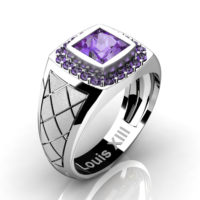 Mens Modern 14K White Gold 1.25 Ct Princess Lilac Amethyst Wedding Ring R1131-14KSWGLAM