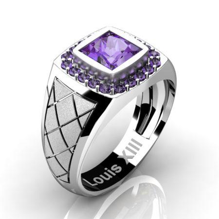 Louis-XIII-Modern-14K-White-Gold-1-25-Carat-Princess-Lilac-Amethyst-Wedding-Ring-R1131-14KSWGLAM