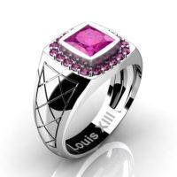 Mens Modern 14K White Gold 1.25 Ct Princess Pink Sapphire Wedding Ring R1131-14KWGPS