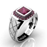 Mens Modern 14K White Gold 1.25 Ct Princess Ruby Wedding Ring R1131-14KSWGRR