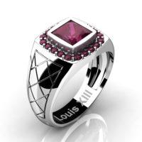 Mens Modern 14K White Gold 1.25 Ct Princess Ruby Wedding Ring R1131-14KWGRR