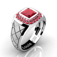 Mens Modern 14K White Gold 1.25 Ct Princess Ruby Wedding Ring R1131-14KSWGR
