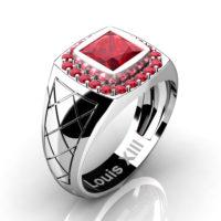 Mens Modern 14K White Gold 1.25 Ct Princess Ruby Wedding Ring R1131-14KWGR