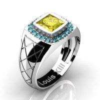 Mens Modern 14K White Gold 1.25 Ct Princess Yellow Sapphire Blue Diamond Wedding Ring R1131-14KWGBLDYS