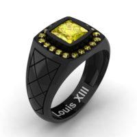 Mens Modern 14K Black Gold 1.25 Ct Princess Yellow Sapphire Wedding Ring R1131-14KBGYS