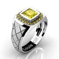 Mens Modern 14K White Gold 1.25 Ct Princess Yellow Sapphire Wedding Ring R1131-14KSWGYS
